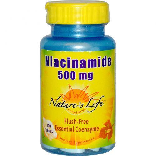 Nature's Life, Ниацинамид, 500 мг, 100 таблеток