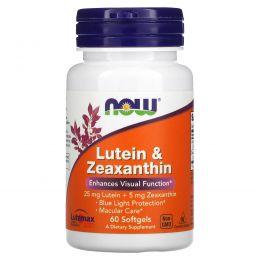 Now Foods, Лютеин с зеаксантином, 60 мягких желатиновых капсул с жидкостью