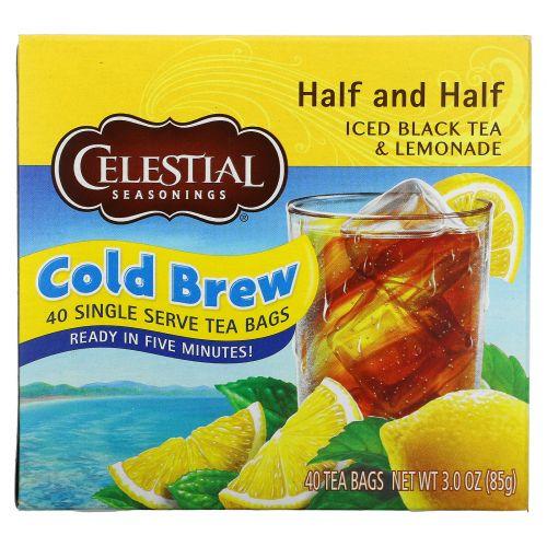 Celestial Seasonings, Half and Half, завариваемый в холодной воде холодный черный чай и лимонад, смешанные в равных пропорциях, 40 чайных пакетиков, 3,0 унции (85 г)