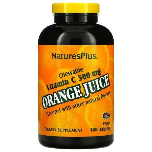 Nature's Plus, Витамин С из апельсинового сока, 500 мг, 180 таблеток