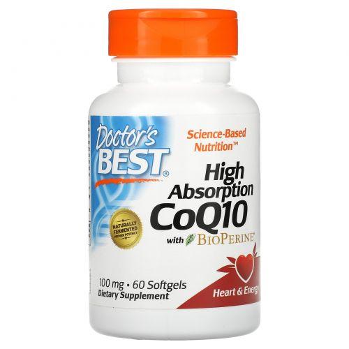 Doctor's Best, Коэнзим Q10 высокого усвоения, с биоперином, 100 мг, 60 желатиновых капсул
