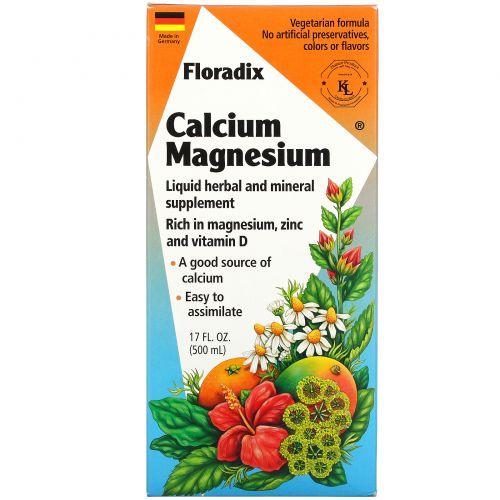 Flora, Floradix с кальцием и магнием, 17 жидких унций (500 мл)