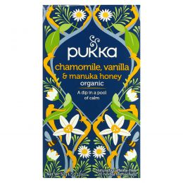 Pukka Herbs, Chamomile, Vanilla & Manuka Honey Tea, 20 Herbal Tea Sachets, 0.05 oz (1.6 g)