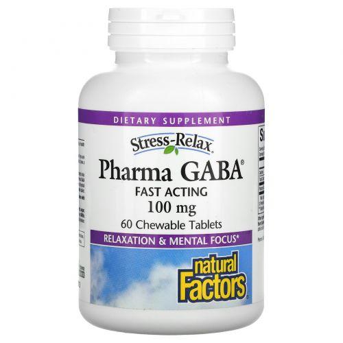 Natural Factors, Stress-Relax, Pharma GABA, 60 жевательных таблеток