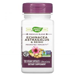 Nature's Way, Эхинацея, астрагал и рейши, 400 мг, 100 вегетарианских капсул