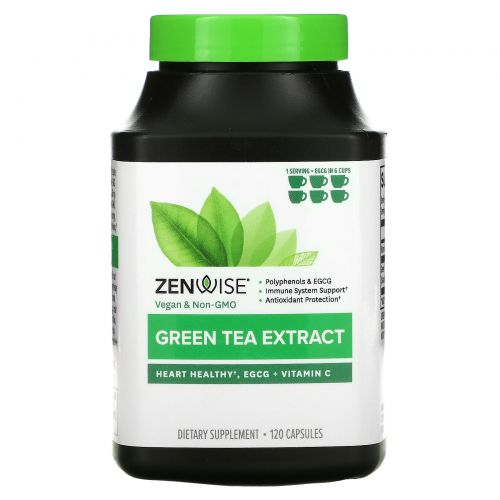 Zenwise Health, Advanced Green Tea Extract Plus Vitamin C, 120 Veggie Caps