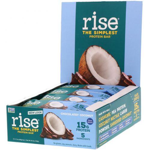 Rise Bar, Рисовый Протеиновый Батончик, Шоколадный Кокос, 12 штук, по 2,1 унции (60 г) каждый