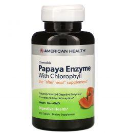 American Health, Энзим папайи с хлорофиллом, 250 жевательных таблеток