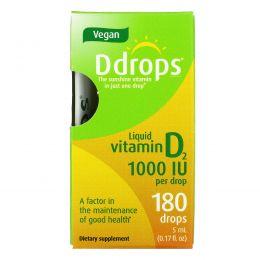 Ddrops, Liquid Vitamin D2, 1,000 IU , 0.17 fl oz ( 5 ml)