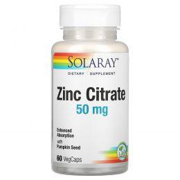 Solaray, Zinc Citrate with Pumpkin Seed, 50 mg, 60 VegCaps