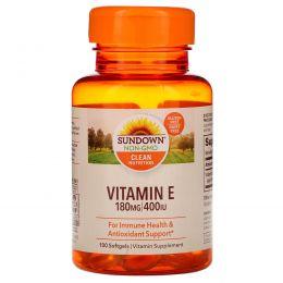 Sundown Naturals, Витамин E, 400 IU, 100 мягких желатиновых капсул