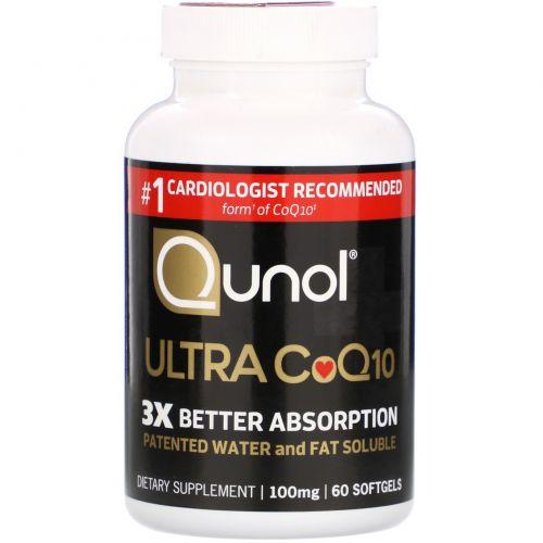 Qunol, Мега CoQ10 Убихинол, 100 мг, 60 капсул