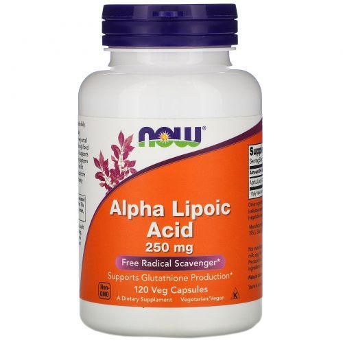 Now Foods, Альфа-липоевая кислота, 250 мг, 120 растительных капсул
