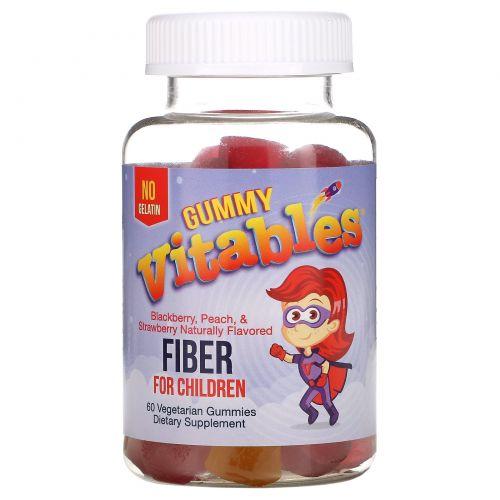 Vitables, Жевательная клетчатка для детей, без желатина, вкус фруктового ассорти, 60вегетарианских жевательных таблеток