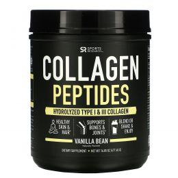 Sports Research, Коллагеновые пептиды, гидролизованный коллаген I и III типов, ваниль, 16,89 унций (478,88 г)