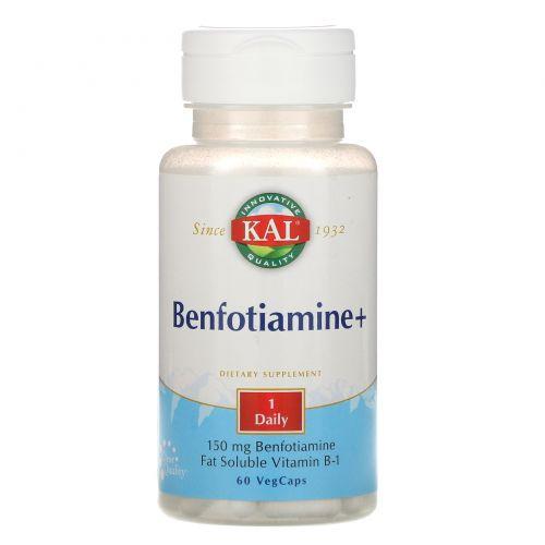 KAL, Benfotiamine+, 150 мг, 60 капсул с оболочкой из ингредиентов растительного происхождения