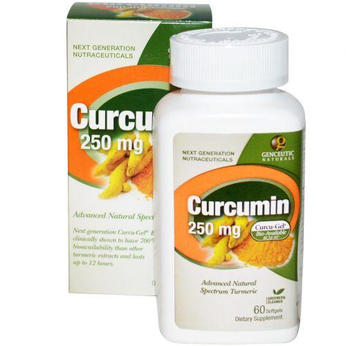 Genceutic Naturals, Куркумин, 250 мг, 60 гелевых капсул