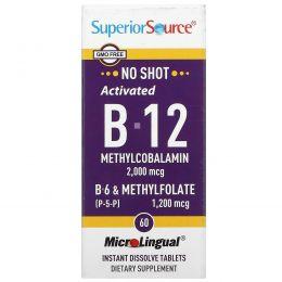 Superior Source, Acitivated B-12 Methylcobalamin 2,000 mcg,  B-6 (P-5-P) & Methylfolate 1,200 mcg, 60 Instant Dissolve Tablets