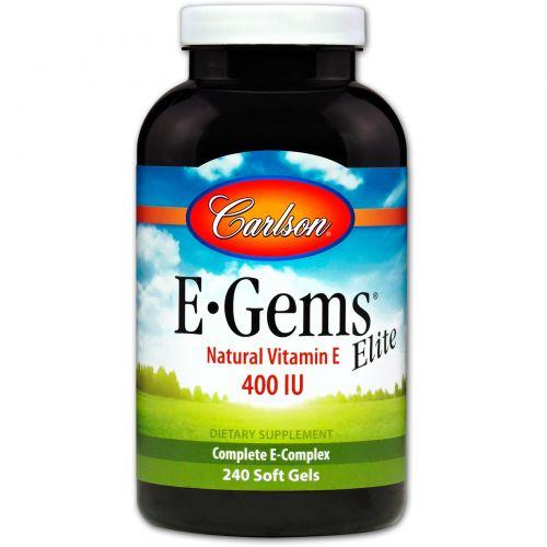 Carlson Labs, E-Gems Elite, натуральный витамин E, 400 МЕ, 240 мягких желатиновых капсул
