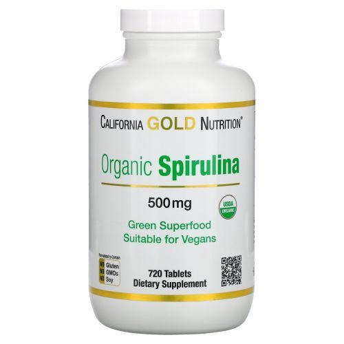 California Gold Nutrition, Органическая спирулина, сертифицирована Министерством сельского хозяйства США, 500 мг, 720 таблеток
