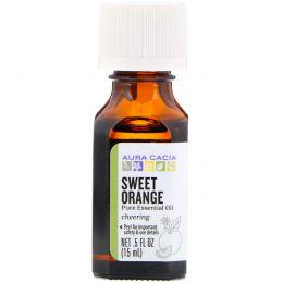 Aura Cacia, 100% чистые незаменимые масла, сладкий апельсин, .5 жидких унций (15 мл)