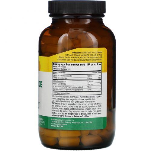 Country Life, Бетаина гидрохлорид, с пепсином, 600 мг, 250 таблеток