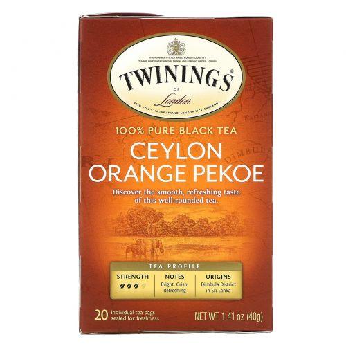 Twinings, Цейлонский чай Орандж Пеко 20 чайных пакетиков, 1.41 унции (40 г)