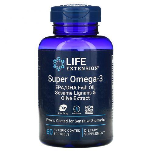 Life Extension, Омега-заряд, cуперомега-3, 60 кишечнорастворимых капсул