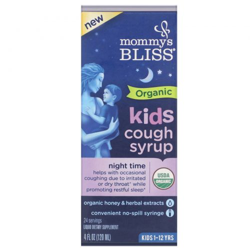 Mommy's Bliss, Kids, Organic Cough Syrup, Night Time, 4 fl oz (120 ml)