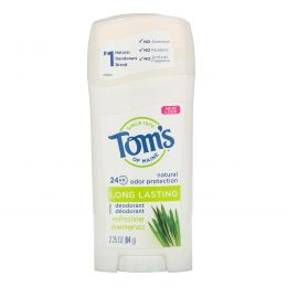 Tom's of Maine, Дезодорант длительного действия с освежающим лемонграссом, 2,25 унции (64 г)