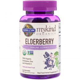Garden of Life, MyKind Organics, бузина, жевательные веганские конфеты для поддержки иммунной системы, 120 шт.