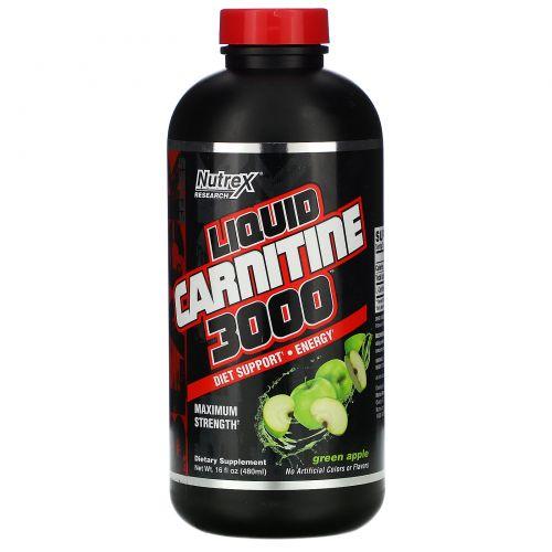 Nutrex Research Labs, Жидкий карнитин 3000, зеленое яблоко, 16 жидких унций (473 мл)