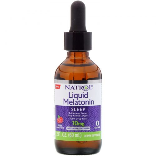 Natrol, Liquid Melatonin, Sleep, Berry Natural Flavor, 10 mg, 2 fl oz (60 ml)