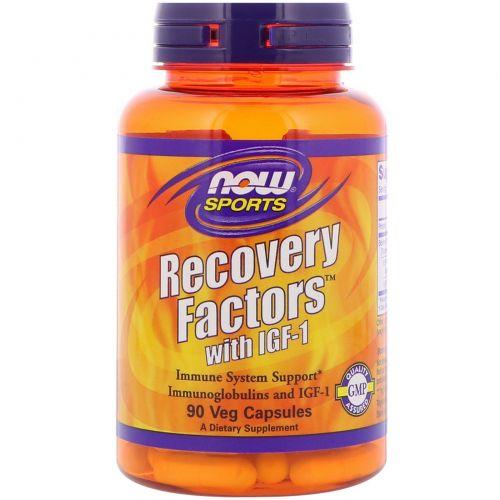 Now Foods, Recovery Factors с ИФР-1 для спортсменов, 90 растительных капсул