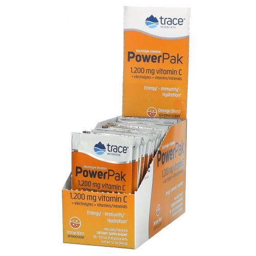 Trace Minerals Research, Электролиты для выносливости и силы с сочным апельсиновым вкусом, 0.23 унции, (6.5 г), 30 пакета