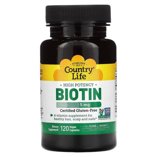 Country Life, Биотин, высокая эффективность, 5 мг, 120 веганских капсул