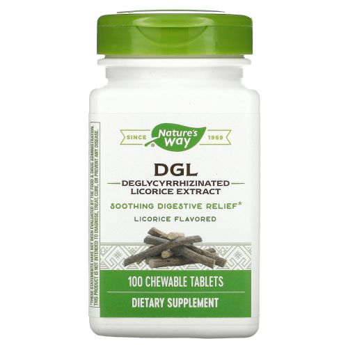 Enzymatic Therapy, DGL, Deglycyrrhizinated Licorice Extract, Licorice Flavored, 100 Chewable Tablets