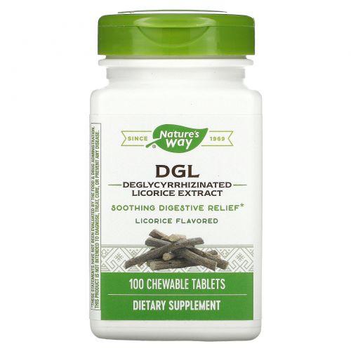 Enzymatic Therapy, DGL, Экстракт глицирризината солодки, Со вкусом лакрицы, 100 жевательных таблеток