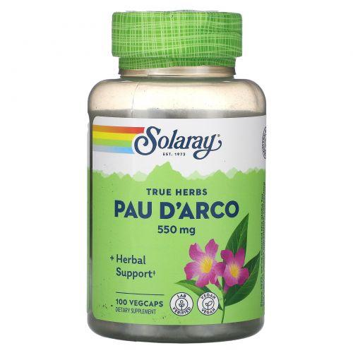 Solaray, По д'арко, 550 мг, 100 капсул с оболочкой из ингредиентов растительного происхождения