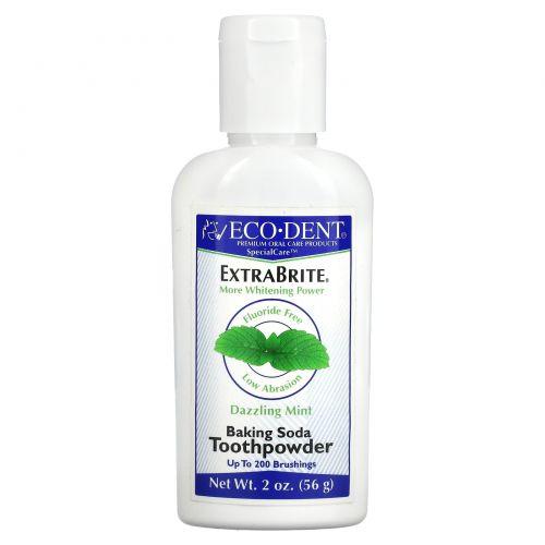 """Eco-Dent, ExtraBrite, отбеливатель зубов, без соединений фтора, """"Ослепительная мята"""", 2 унции (56 г)"""