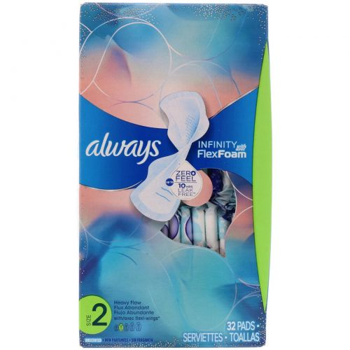 Always, Infinity Flex Foam with Flexi-Wings, Size 2, Heavy Flow, Unscented, 32 Pads