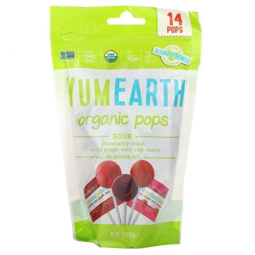YumEarth, Organics, кислые леденцы, с разными вкусами, 14 леденцов, 3 унции (85 г)