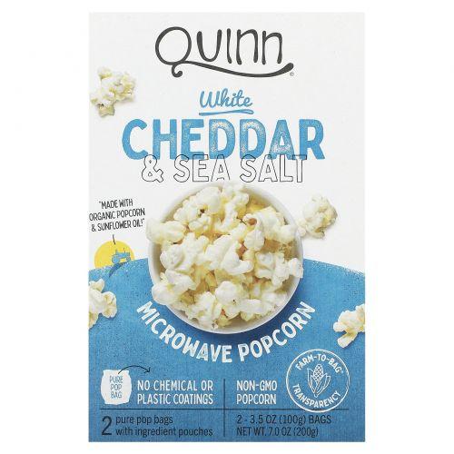 Quinn Popcorn, Microwave Popcorn, White Cheddar & Sea Salt, 2 Bags, 3.5 oz (100 g) Each