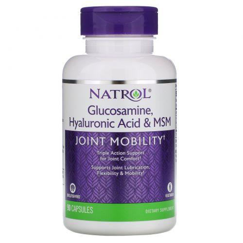 Natrol, Глюкозамин, гиалуроновая кислота и МСМ, 90 капсул