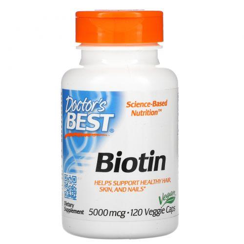 Doctor's Best, Best Biotin, 5000 mcg, 120 Veggie Caps