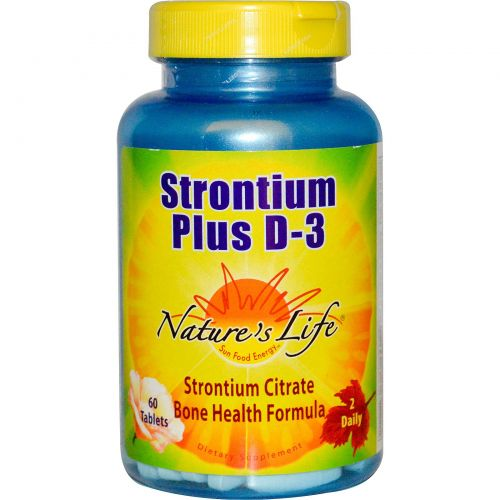 Nature's Life, Стронций плюс D-3, 60 таблеток