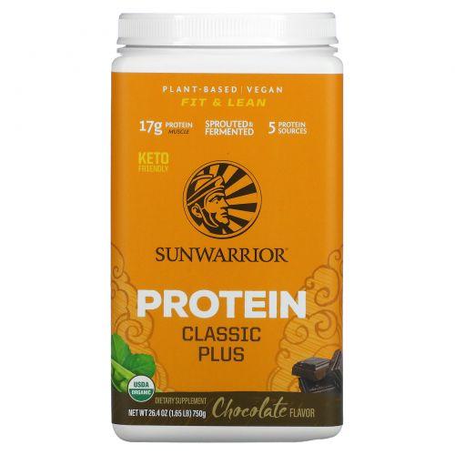 Sunwarrior, Organic, Classic Plus, Chocolate, 1.65 lb (750 g)