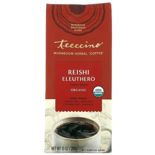 Teeccino, Mushroom Herbal Coffee, Reishi Eleuthero, Dark Roast, Caffeine Free, 10 oz (284 g)