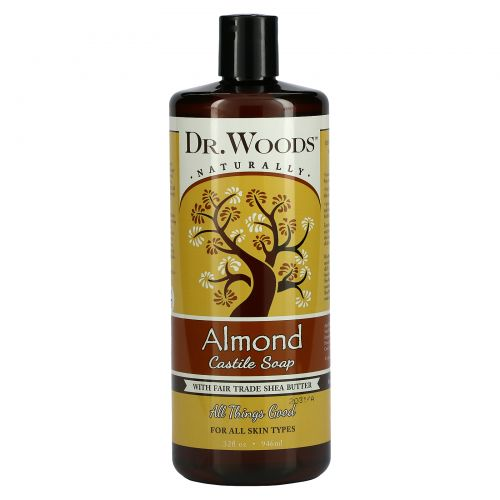 Dr. Woods, Миндальное кастильское мыло, 32 жидкие унции (946 мл)