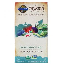Garden of Life, KIND Organics, Men's Multi 40+, 120 веганских таблеток